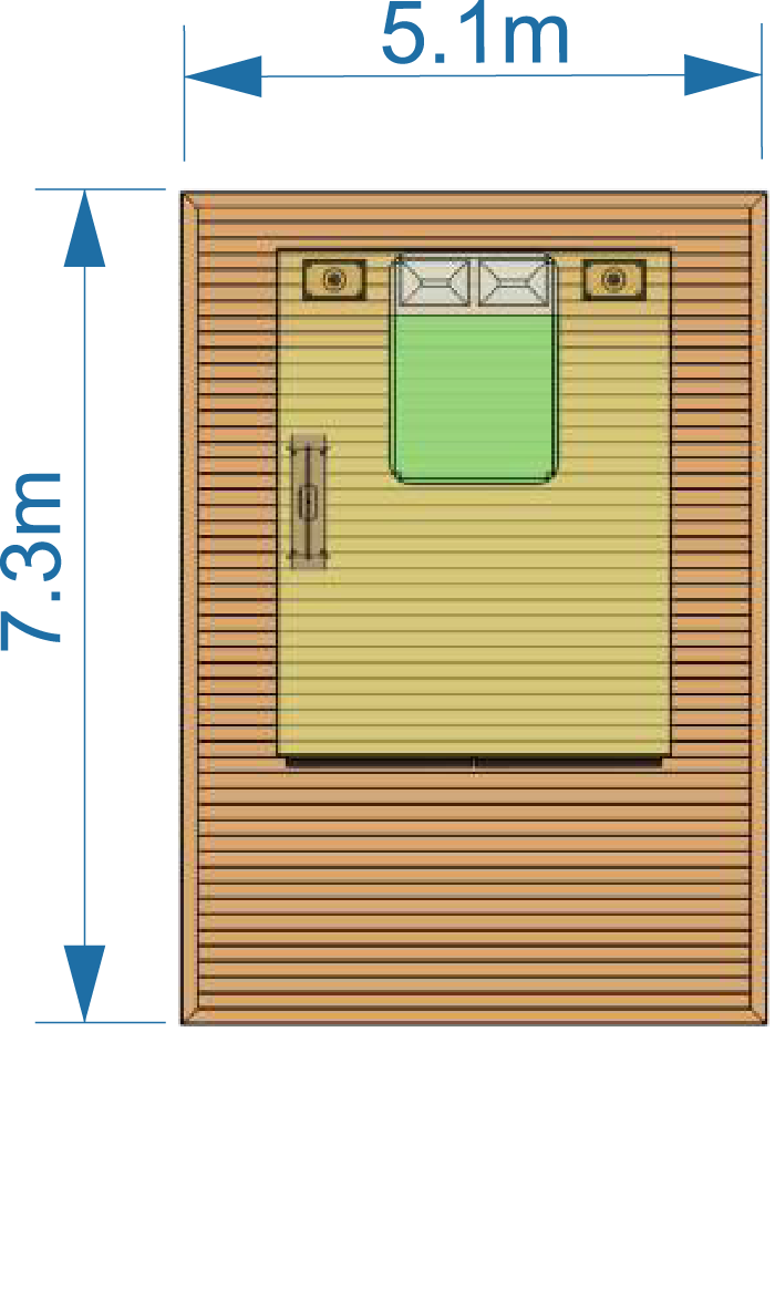 5.1m x 7.3m deck